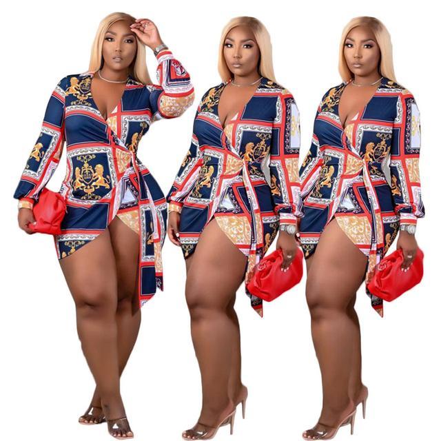Adogirl S-4XL Mode Print Femmes Robe De Chemise à manches longues De Deep V Couleur À Lacets Asymétriques Blouse occasionnel Plus Taille Blusas