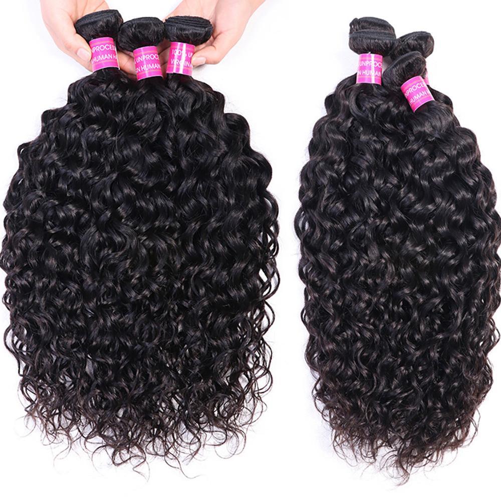 Peruvian Indian Malaysian Brazilian Virgin Hair Weft Weave Bundles Water WaveRemy Human Hair Extensions 4pc/lot Natural Black