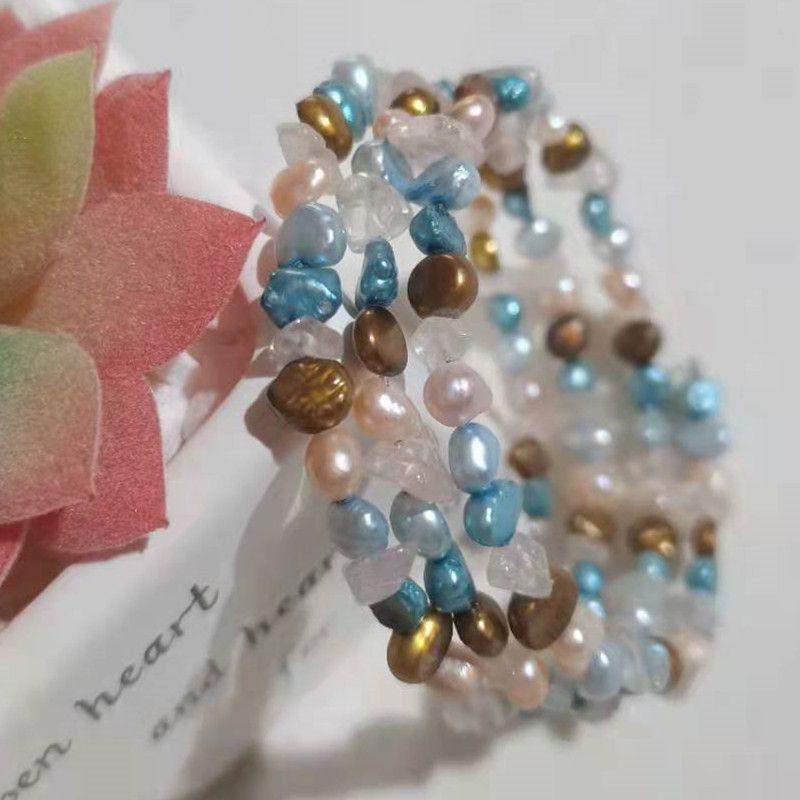 3-layer Real Cultured Freshwater Pearl Bangle Bracelet for Women Party Gifts Handmade Bracelets Strands Natural Gemstone Crystal Bangles