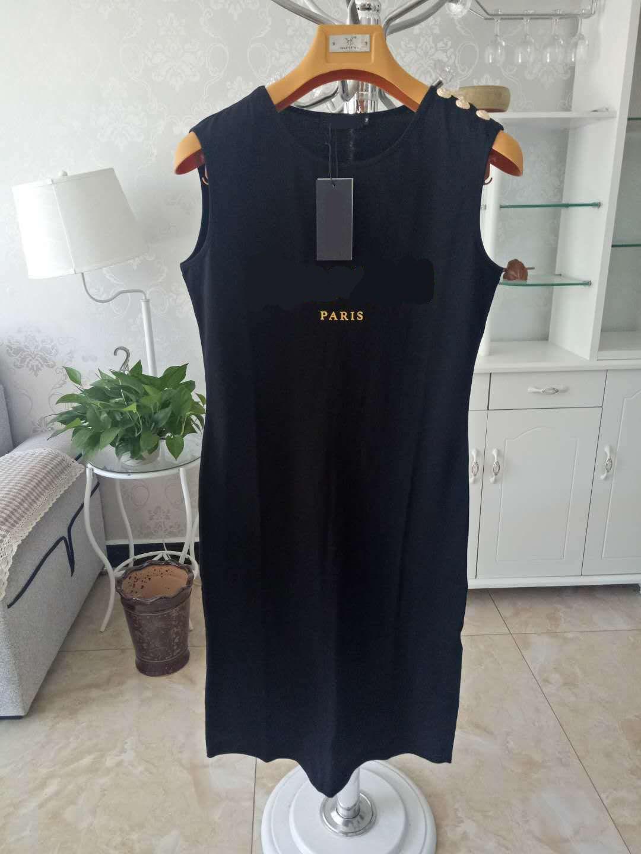 Mulheres Casual Vestidos Padrão de Carta Clássica Imprimir Alta Qualidade Botão de Ouro Mulheres Estilo Ativo Verão Verão Vestido sem mangas