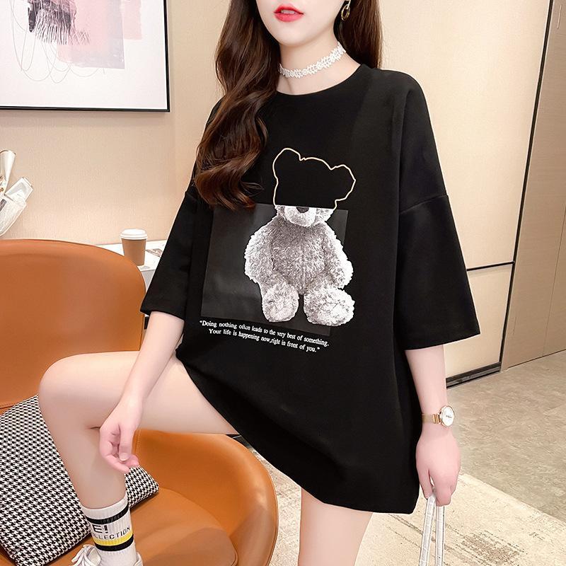 Femmes 2021 Summer Nouvelle manches courtes T-shirt pour femmes coréennes en vrac dessin animé mode imprimé de grande taille supérieure