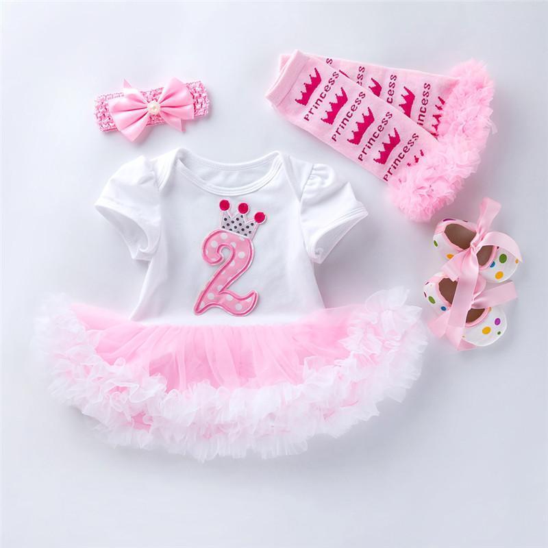 아기 생일 드레스 2 년 4pcs 복장 유아 유아 소녀 옷 태어난 두 번째 의류 소녀의 드레스