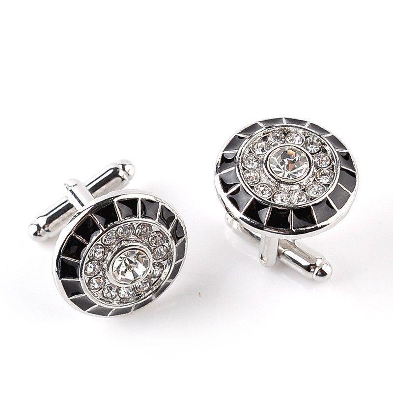 Diamond Cufflinks Round Business Suit Shirt Cuff Links Button Clasps for Men Fashion Jewelry