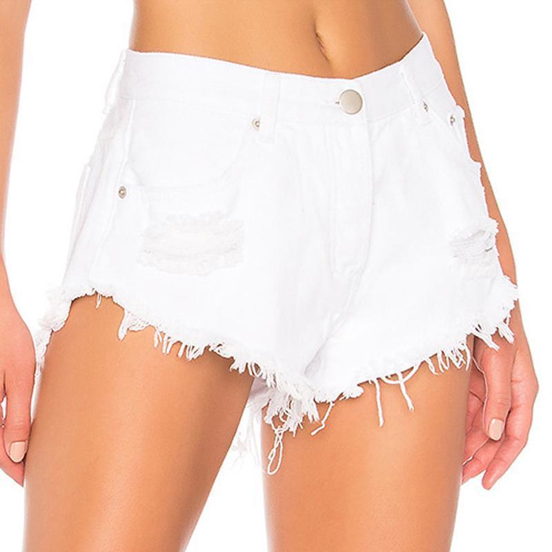 Sexy shorts de la cintura alta de la cintura para las mujeres destruidas los pantalones vaqueros destruidos damas angustiadas pantalones cortos tassel más tamaño verano blanco 2021 mujeres