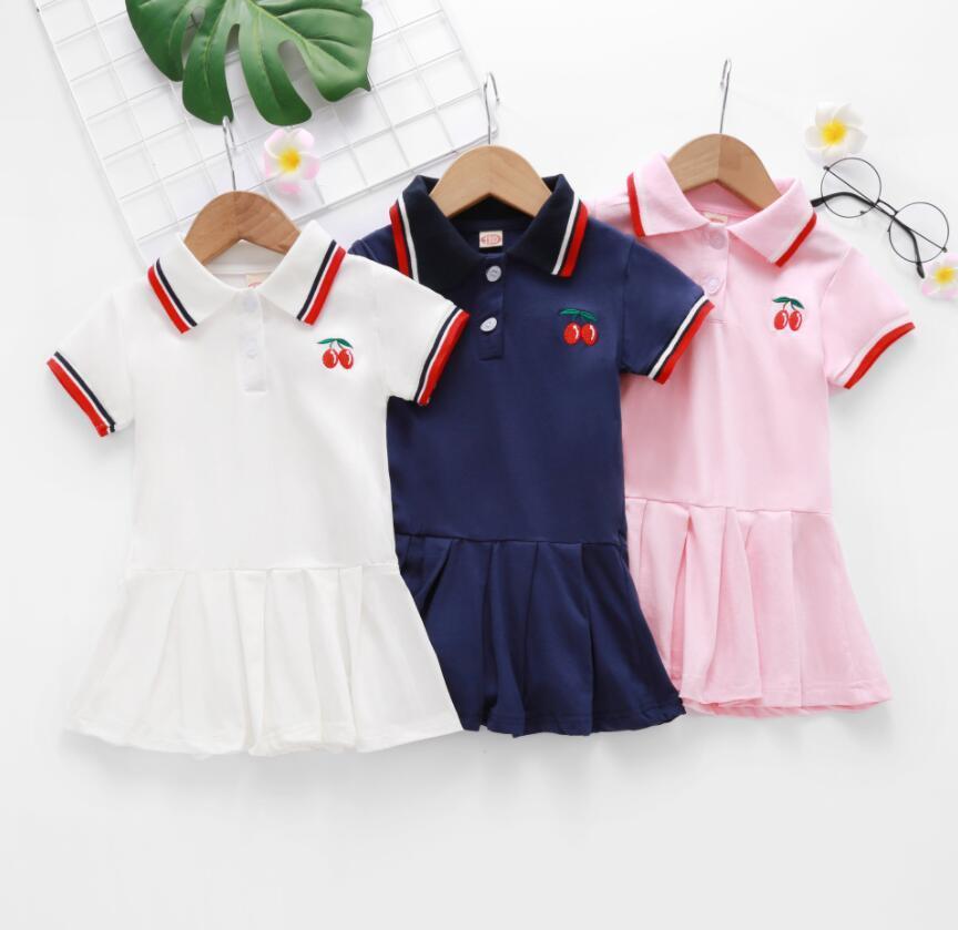 Bebé menina lapela colarinho bordado bordado manga curta vestido crianças elegante verão toddler roupas roupas