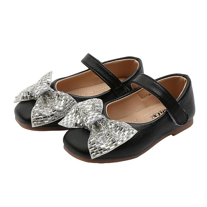 Girls Party Shoes Bling Bow-knot Children Mary Janes Kids Flats Toddlers Little Girls Dress Shoes For Wedding Party #21-30 Soft 210514