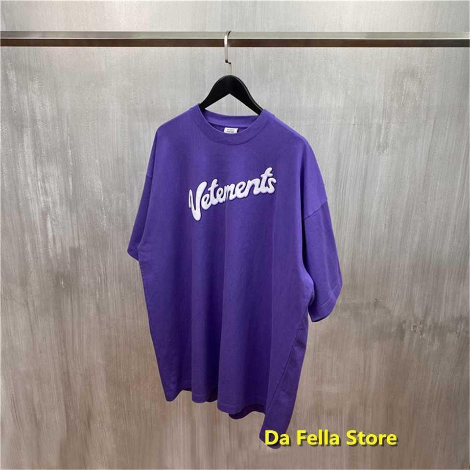 2020 VETEMENTS T-shirt Purple White Letter Print Vetements Tee Summer Men Women Oversize VTM T-shirts Hip Hop Cotton Tops X0712