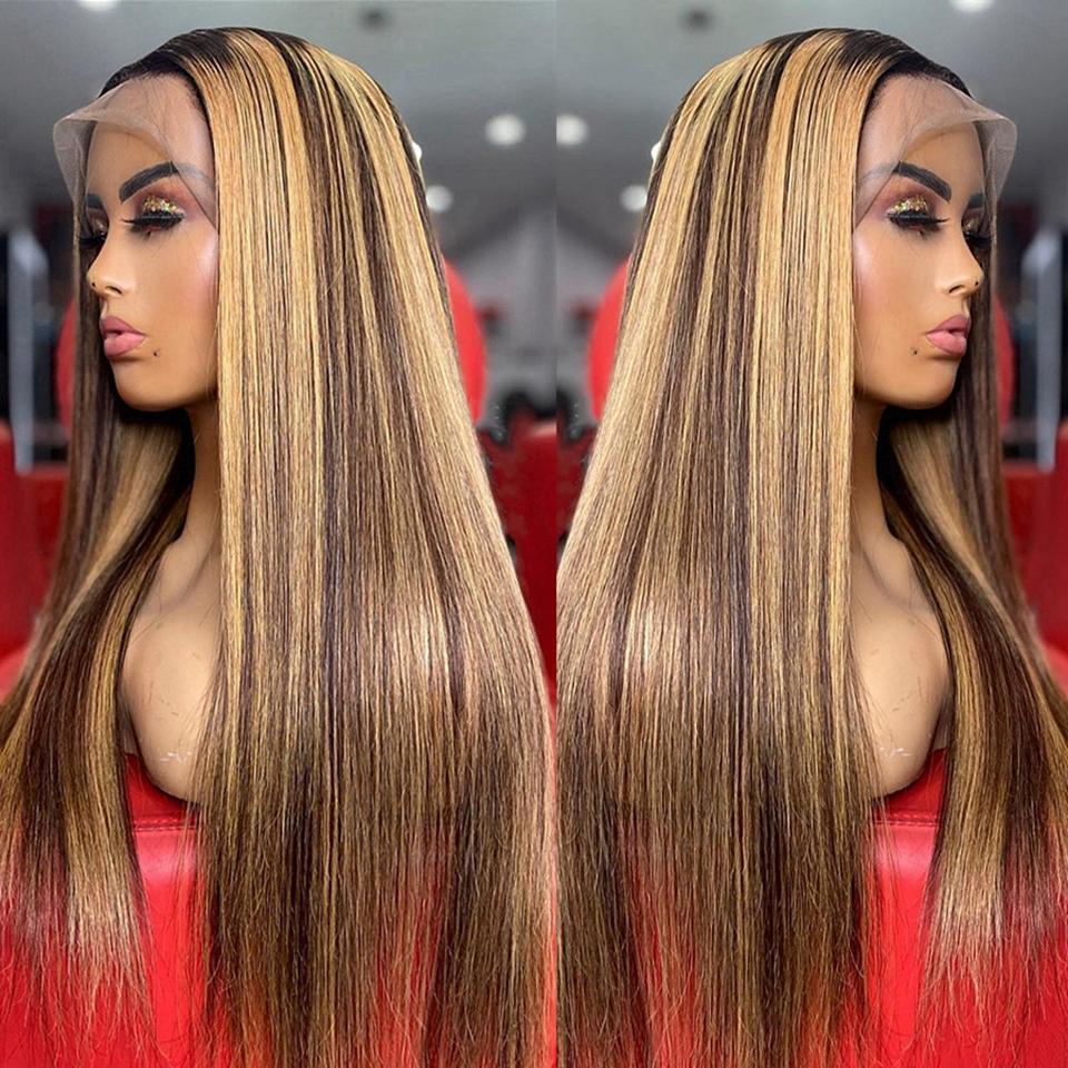 Soulignez les perruques de cheveux humains blondes brunes de couleur blonde pour femmes ombre dentelle droite perruque frontale 4x4 laceclosurewigs