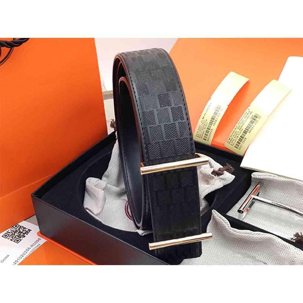 Cinturón para mujer de alta calidad genuina Muchos colores Cinturón de vaca de moda opcional para el cinturón para hombre 38 mm con caja de regalo HJ3