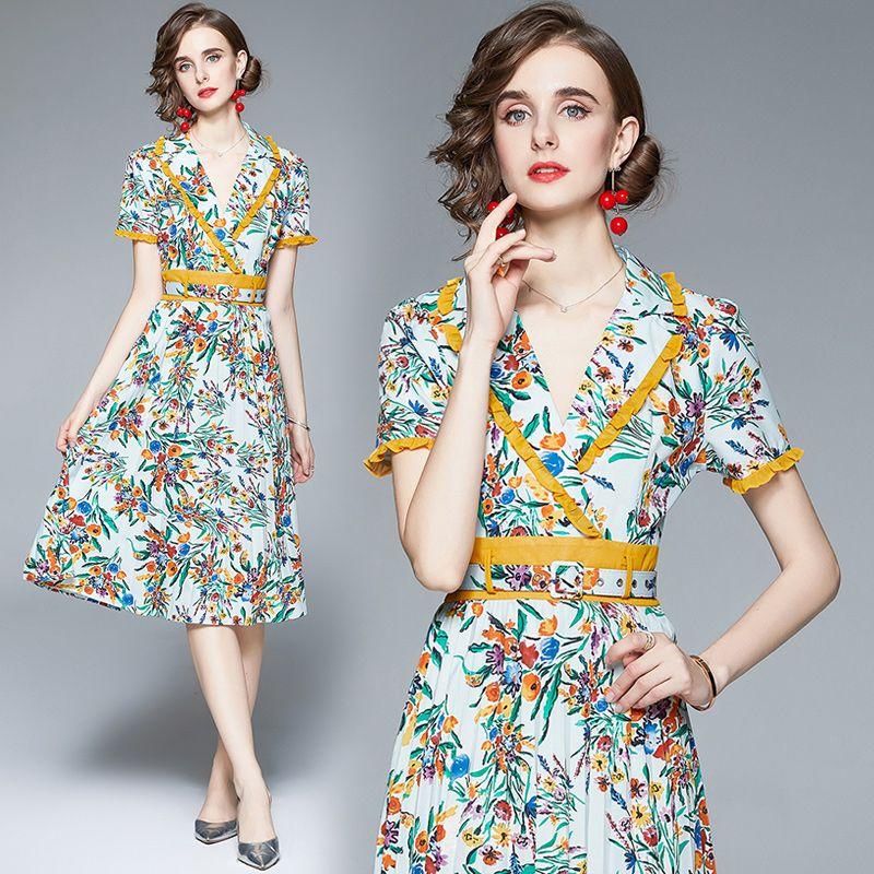 Womens Printed Dress Short Sleeve OL Summer Midi Dress Ruffle Blazer Collar High-end Temperament Lady Dress Boutique Pleated Dresses
