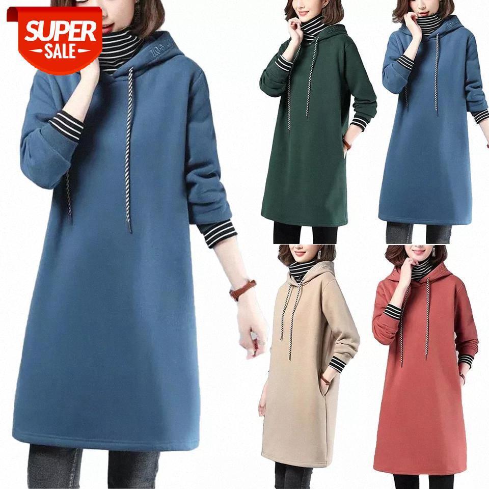 Dress Womens Hoodie Senhoras Inverno Quente Neck High Neck Tops Meninas Molas de Primavera Sweatshirt-Dress Casual Vestidos Com Capuz Festa # PY3Z