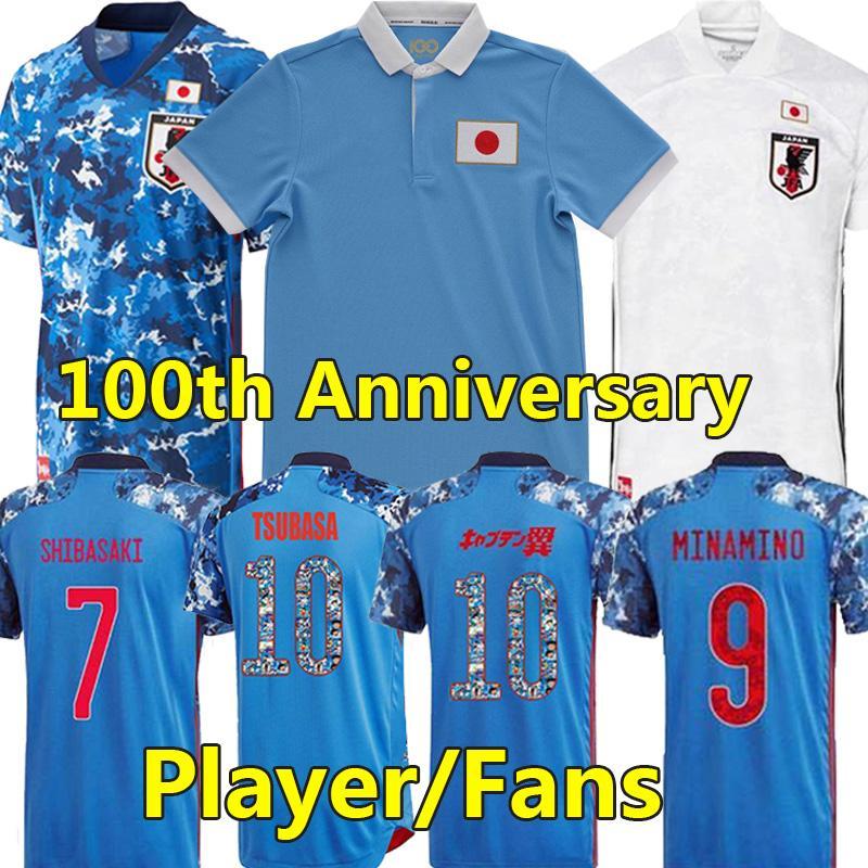 2021 22 Japonya 100. Yıldönümü Futbol Formaları Fanlar Oyuncu Sürüm Özel 100 TH Yaş Honda Tsubasa Kamada Shibasaki Futbol Gömlek Karton Numarası Erkekler Kids Kiti