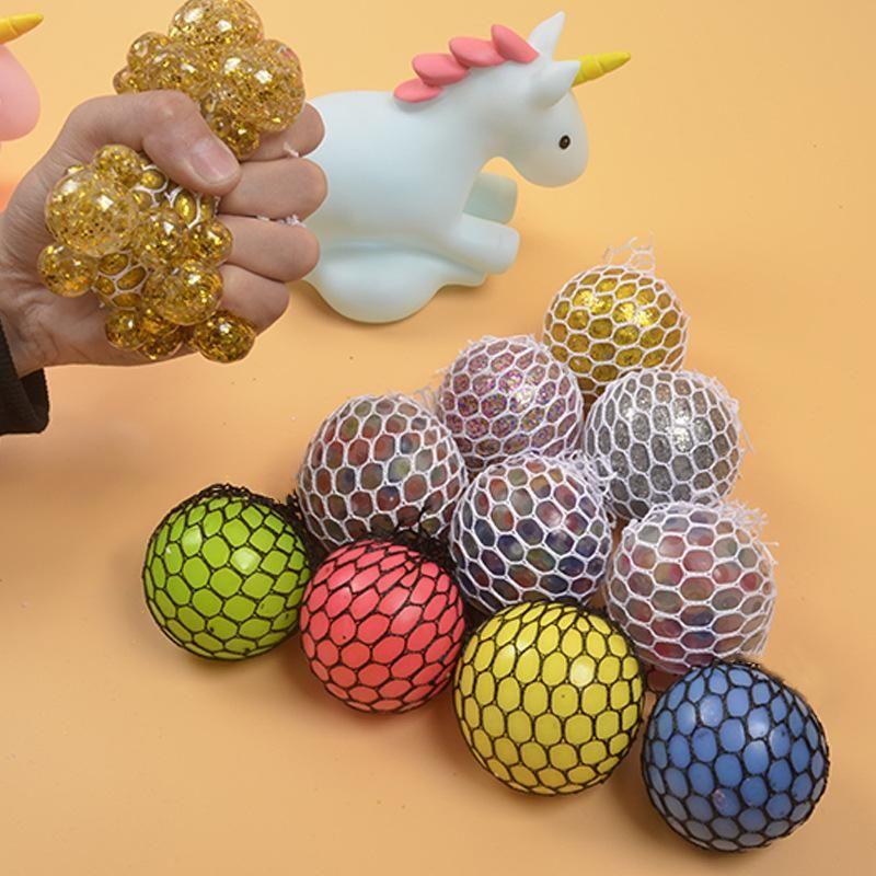 6cm 다채로운 메쉬 짜기 포도 방지 스트레스 공 압박 장난감 압축 해제 불안 아이들을위한 선물 2021