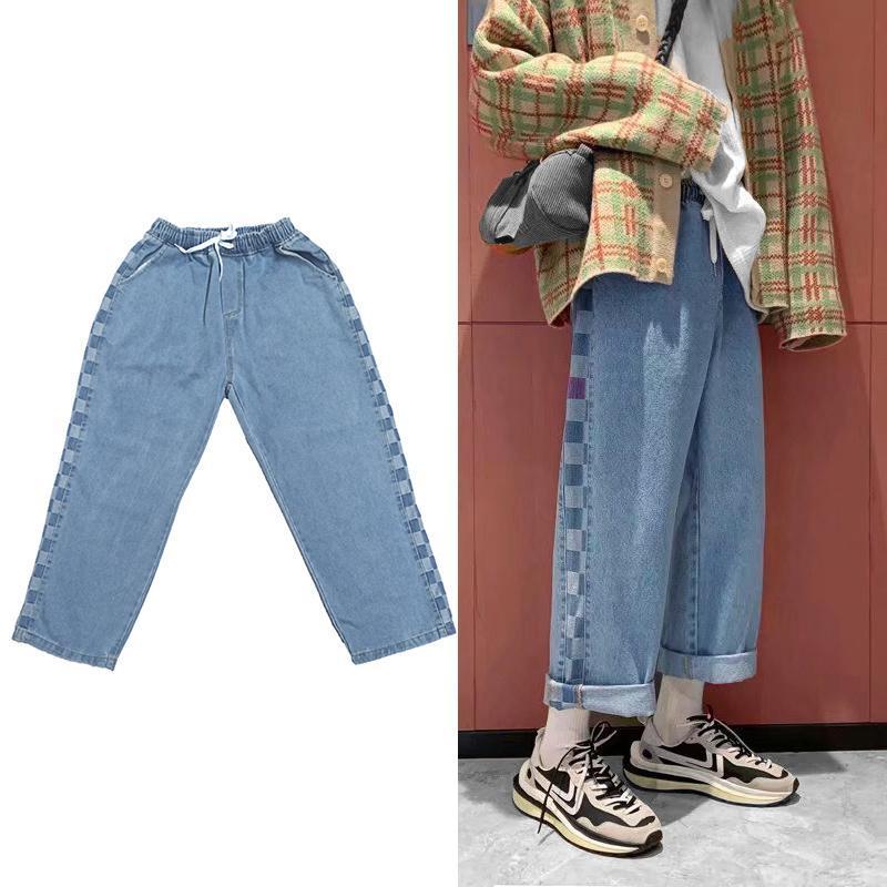 Pantalon de jambe largeur boucher jeans hommes elastic taille cousue planche géométrique motif hip-hop hip hip garçons style bleu style bleu hommes