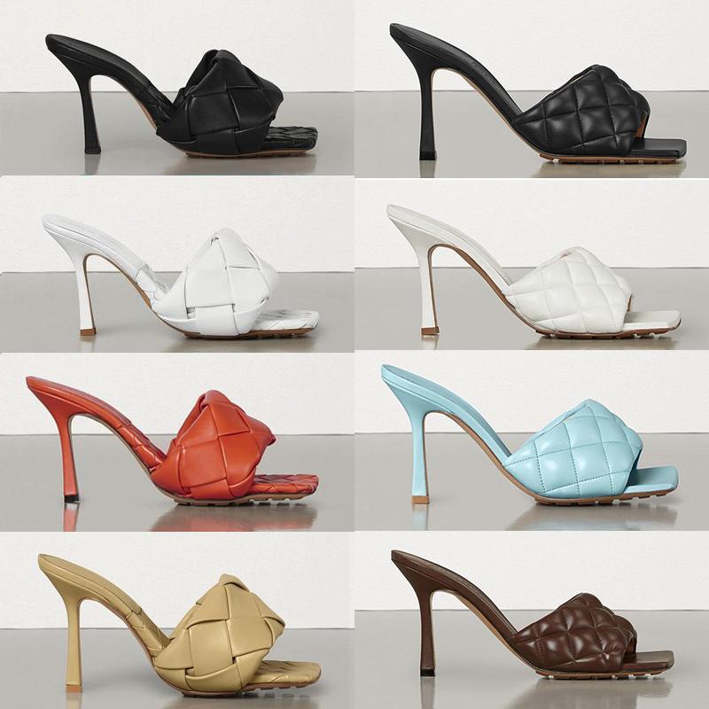 Sexy Damen Gepolsterte Lido Sandalen gewebte Leder Maultiere mit quadratischen Sohle Frauen Slipper Strandnäher Sandale Fersen Flache Schuhe weiche Leathe EU42 280