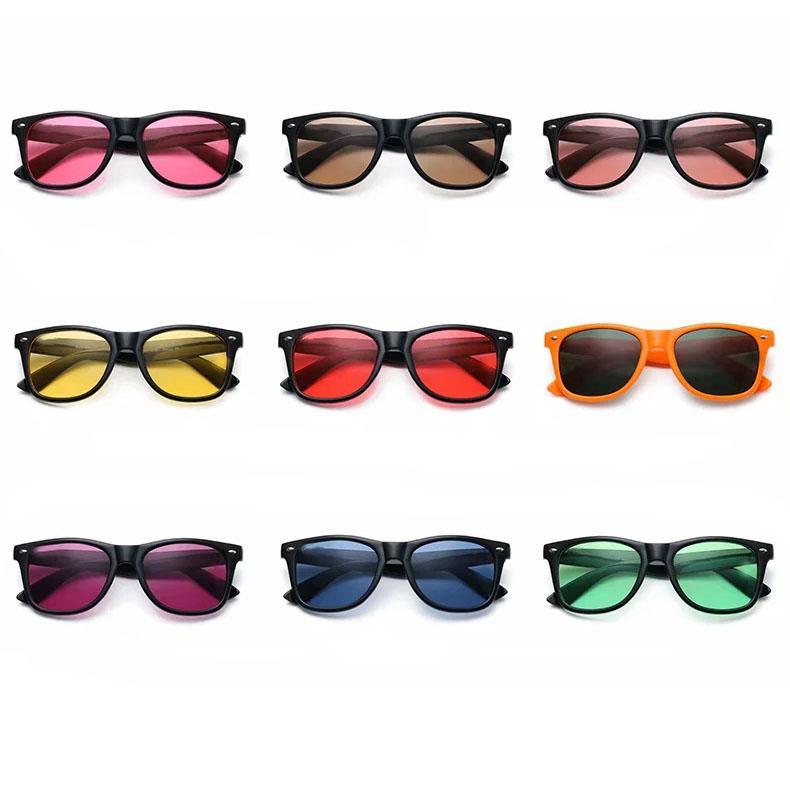 المرأة رجل شفاف نظارات الشمس ظلال الشمس واضحة نظارات عدسة اللون uv400 البلاستيك القهوة الأزرق الأحمر العدسات الخضراء الأسود الإطار الأصفر اللون