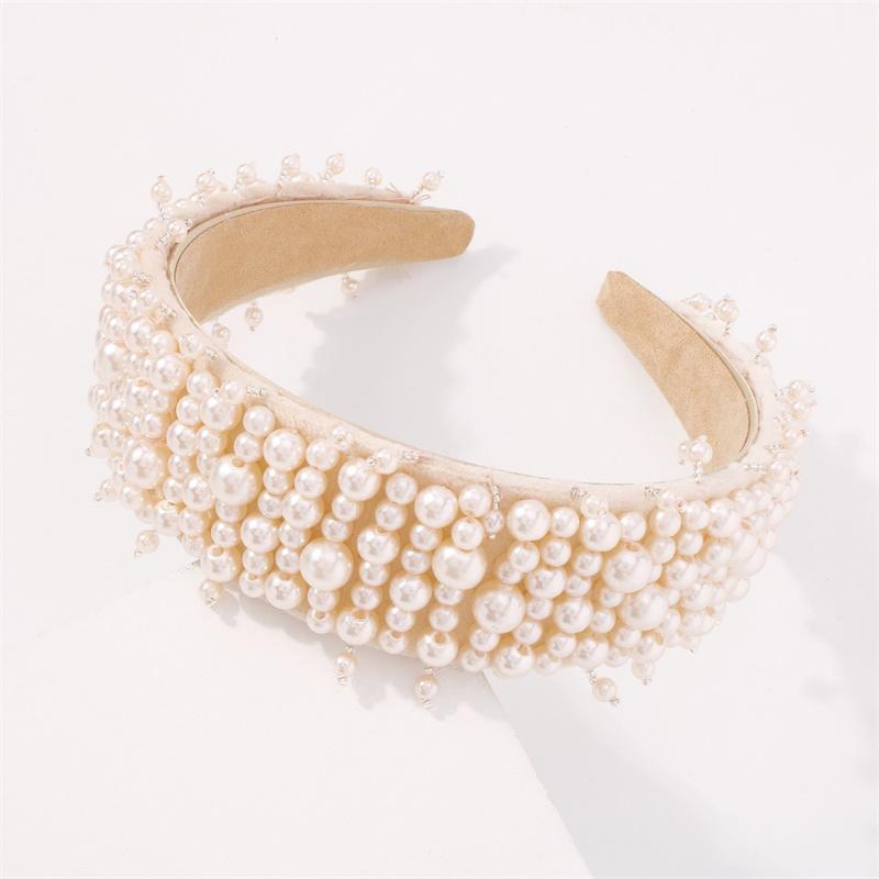 Mujer de estilo barroco, diademas de color sólido, perlas simples, accesorios para el cabello incrustados, diadema de perla de imitación hecha a mano para usar joyería a juego