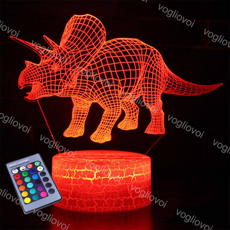 3D 야간 조명 동물 공룡 16Clors 아이들을위한 변경 가능 어린이 침실 장식 야간 조명 만화 선물 EUB