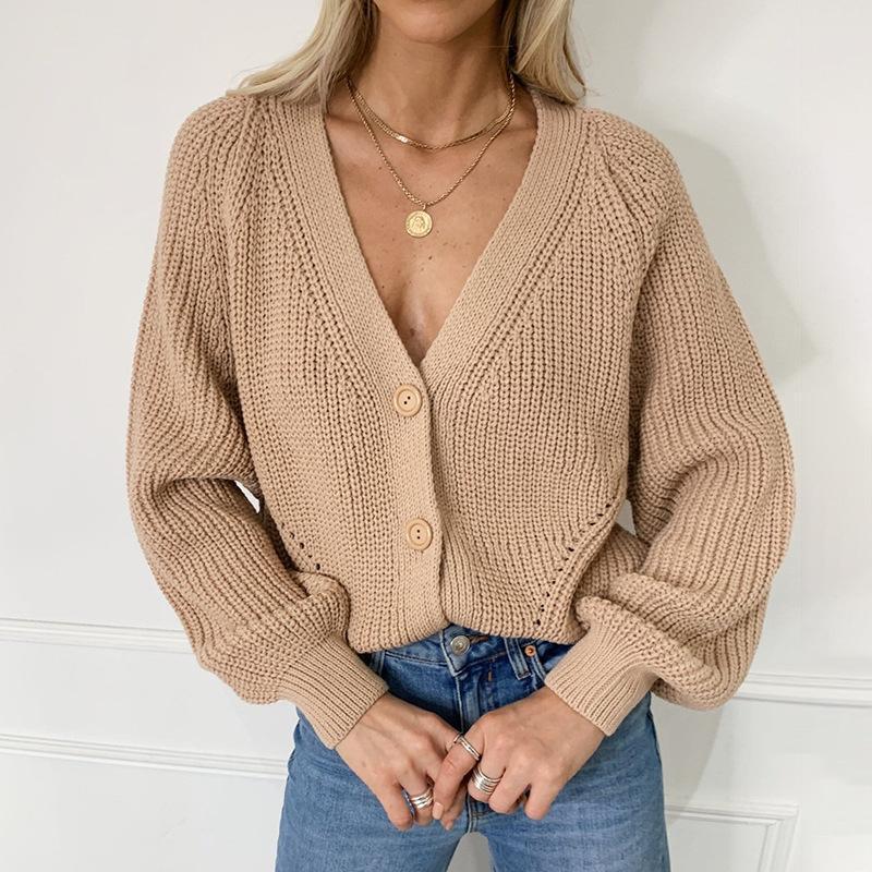 단단한 캐주얼 특대 따뜻한 니트 카디건 여성 2021 가을 긴 소매 짧은 니트 워킹 겨울 스웨터 여성의 니트 티셔츠