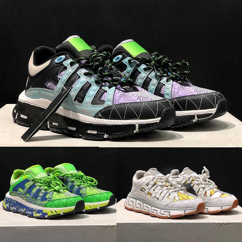 أعلى جودة الأحذية عارضة إيطاليا trigreca أحذية رياضية أسود فضي عميق الأزرق الأخضر الأبيض الذهب اللثة طباعة الأزياء الفاخرة الرجال النساء مصمم المدربين