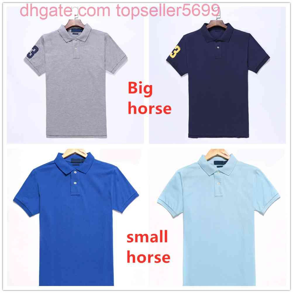Mens Pólos Manga Curta t - shirts Cavalo grande ou pequeno mais tamanho S-2XL Múltipla Cor Bordado Bordado HomeMes Classic Business Casual Top Tee