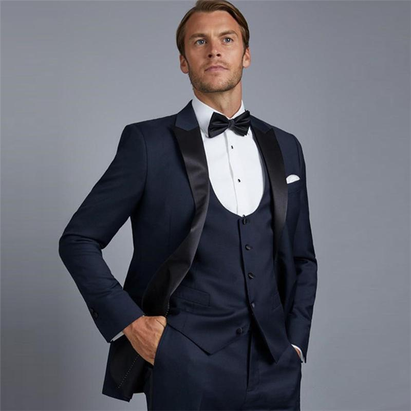Handsome Groomsmen One Button Groom Tuxedos Peak Lapel Men Suits Wedding/Prom/Dinner Man Blazer (Jacket+Pants+Tie+Vest) w477