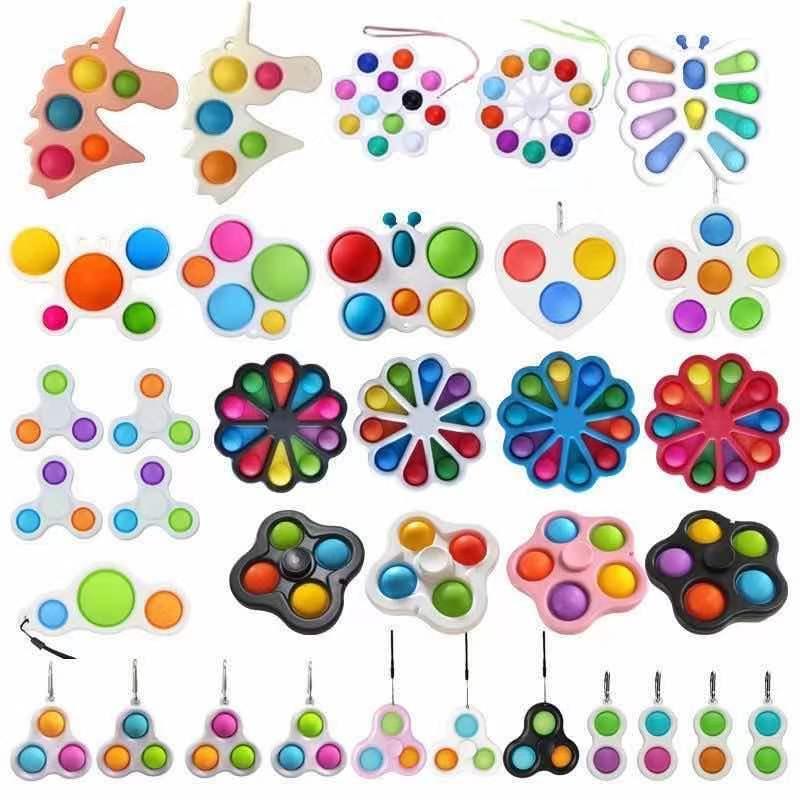 Regenbogen Einhorn Schmetterling Blume Form Push Zappeln Bubble Spielzeug Sinnes Einfache Grübchen Schlüsselanhänger Finger Spielzeug Keychain Squeeze Bubbles Spinner