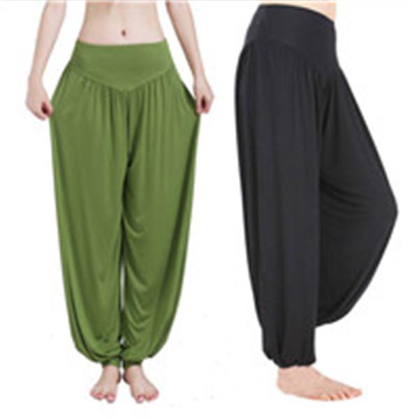 Sıcak Geniş Bacak Yoga Pantolon Kadın Artı Boyutu Renkli Bloomers Dans Yoga Taichi Tam Boy Pantolon Gevşek Yoga Giysileri