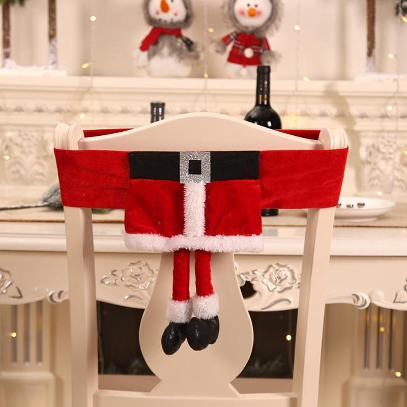 Samt Tuch Elf Stuhl Back Cover Party Dinner Tisch Schöne Santa Claus Stühle deckt Weihnachtsdekoratives Zubehör ab