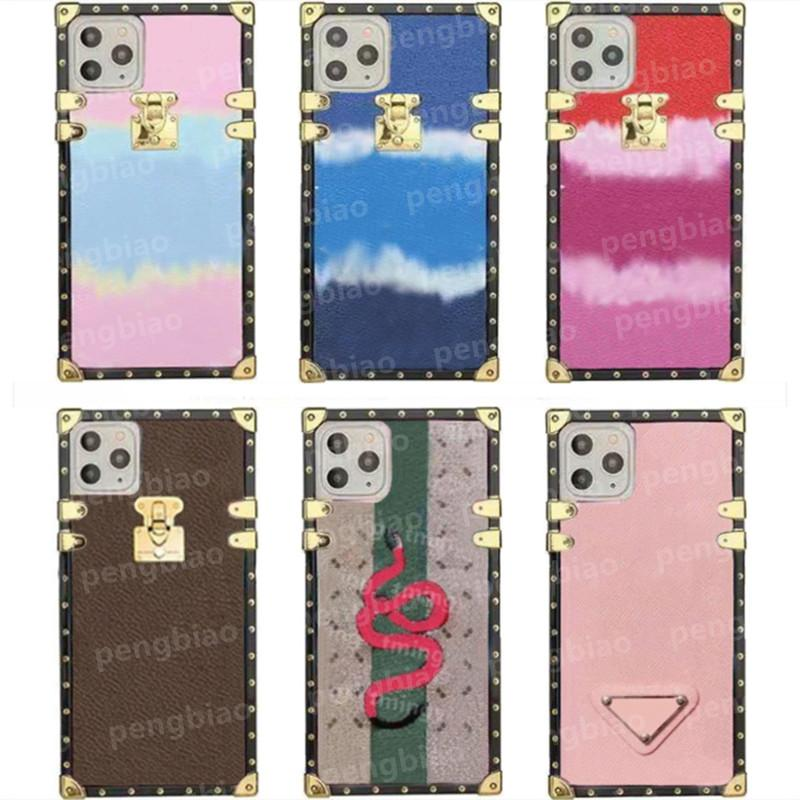 Top Designer fashion cases for iphone 12 mini 11 Pro Max X XR XS 7/8 plus 13 phone case PU leather Brown Flower Print Cover With lanyard shell