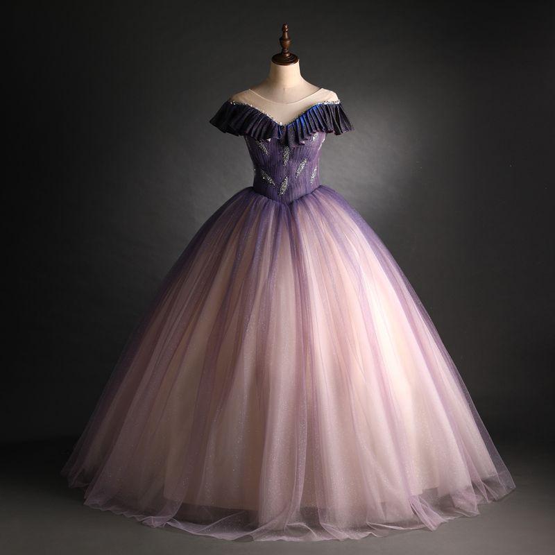 Luxus 100% echtes Plissee Perlen allmählich änderte Farbgericht lange mittelalterliche Renaissance Victoria-Kleid Ballkleid / Event