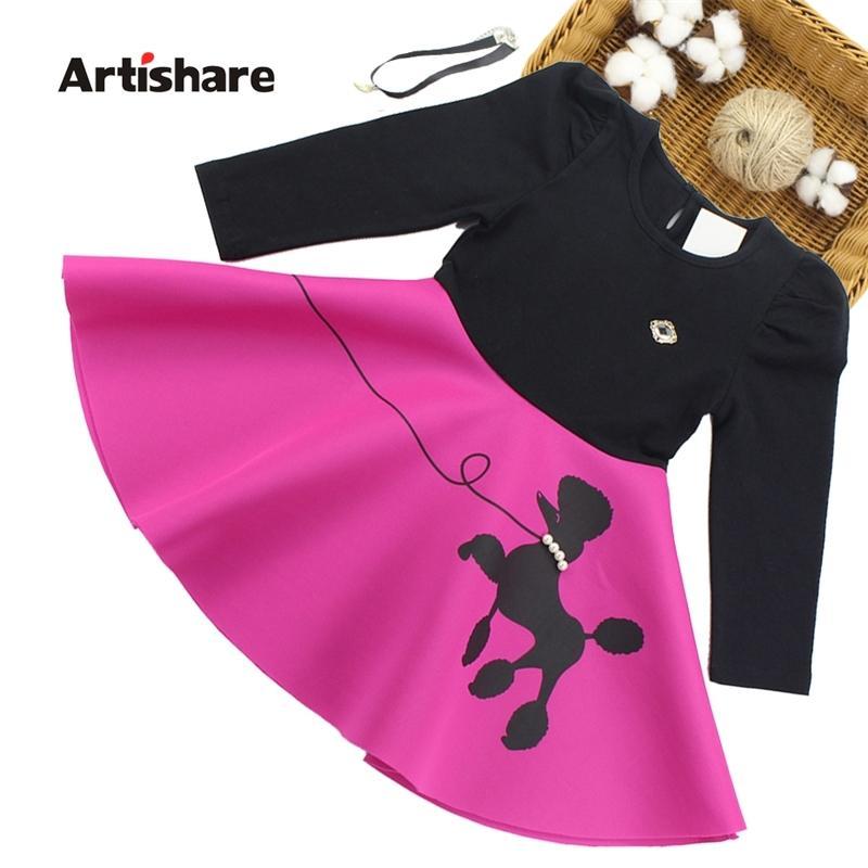 Artishare primavera outono desenhos animados impresso vestido longo manga vestidos para adolescentes crianças meninas roupas 210329