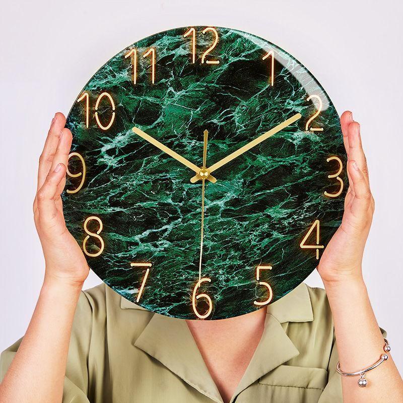 Duvar Saatleri Mermer Doku Saat Benzersiz Tasarım Oturma Odası Dekorasyon Kuvars 30 cm Sessiz Yatak Odası İzle Hediye için G065