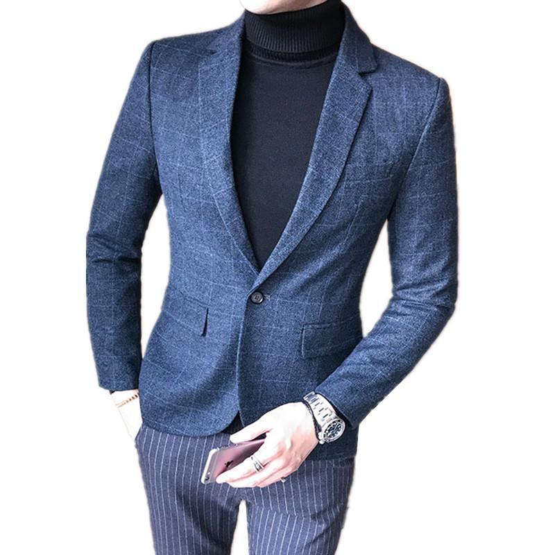 BLAZZERS UOMINI AUTENTEN INVERNO INVERNO LIBERA ELDINE Plus Size Urban Fashion British Style Party Suit Giacca Slim Spessa Caot Suits