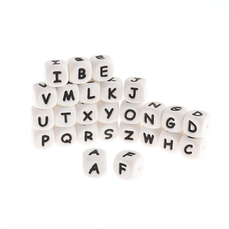 Großhandel 500 stücke English 12mm Buchstaben Silikon Alphabet Baby Beißringperlen BPA Kostenlose Kinderfriedenschrauber Kette Clips Kaugeschenke 210812