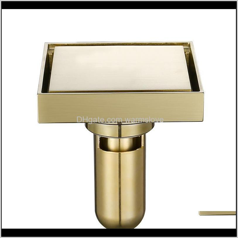 Drains Brass Tile Insert Square Waste Grates Bathroom Shower Floor Brushed Gold Fltro Ducha Drain Hair Invisible Oa7A3 2Ib7O