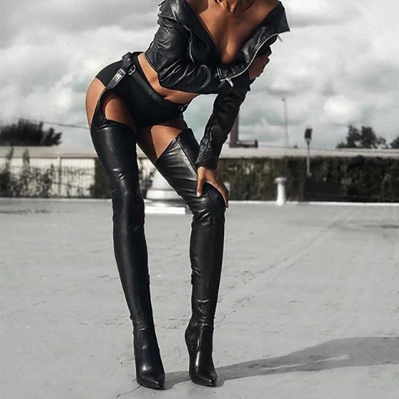 2020 mulheres pretas calças sexy botas dois em uma calça botas calçadas femininas sapatos coxa de couro alto sobre o joelho alto 44rt #
