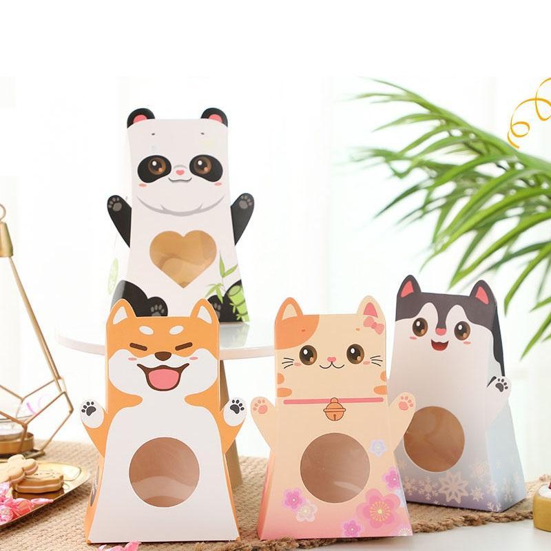 Karikatür Hayvanlar Favor Kutusu Hediye Kutuları Kağıt Torbalar Mutlu Doğum Günü Partisi Dekorasyon Bebek Duş Tedarik Şeker Kutusu Y1099