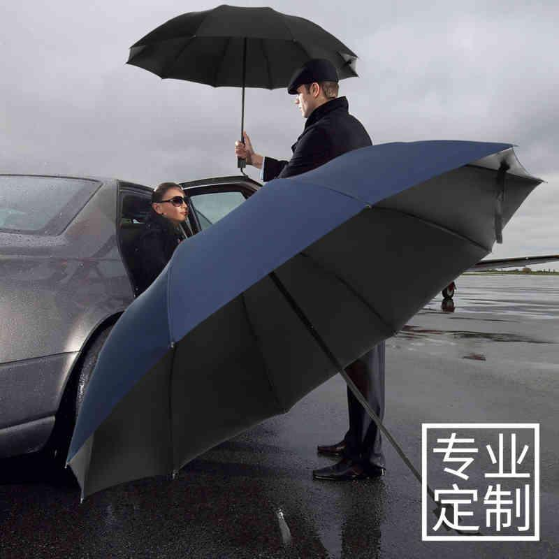 Super Large 3-person 10 Bone Business Men's Sunshade Umbrella Sunny and Rainy Dual Use Three Fold Two Person Advertisement
