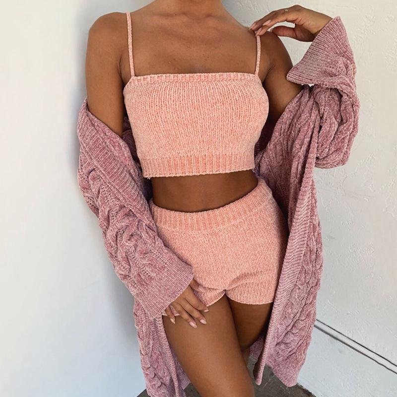 Donne Tracksuits 2021 Donne Maglione Sexy 2 pezzi Set Fashion Sling Sexy Top e pantaloncini Tuta autunno inverno inverno a maglia due abiti rosa