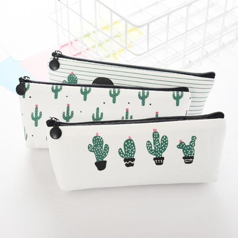 Fabric Canvas Cactus Pencil Case Bag School Pen Box Stationery Office Crayon Supplies Bags