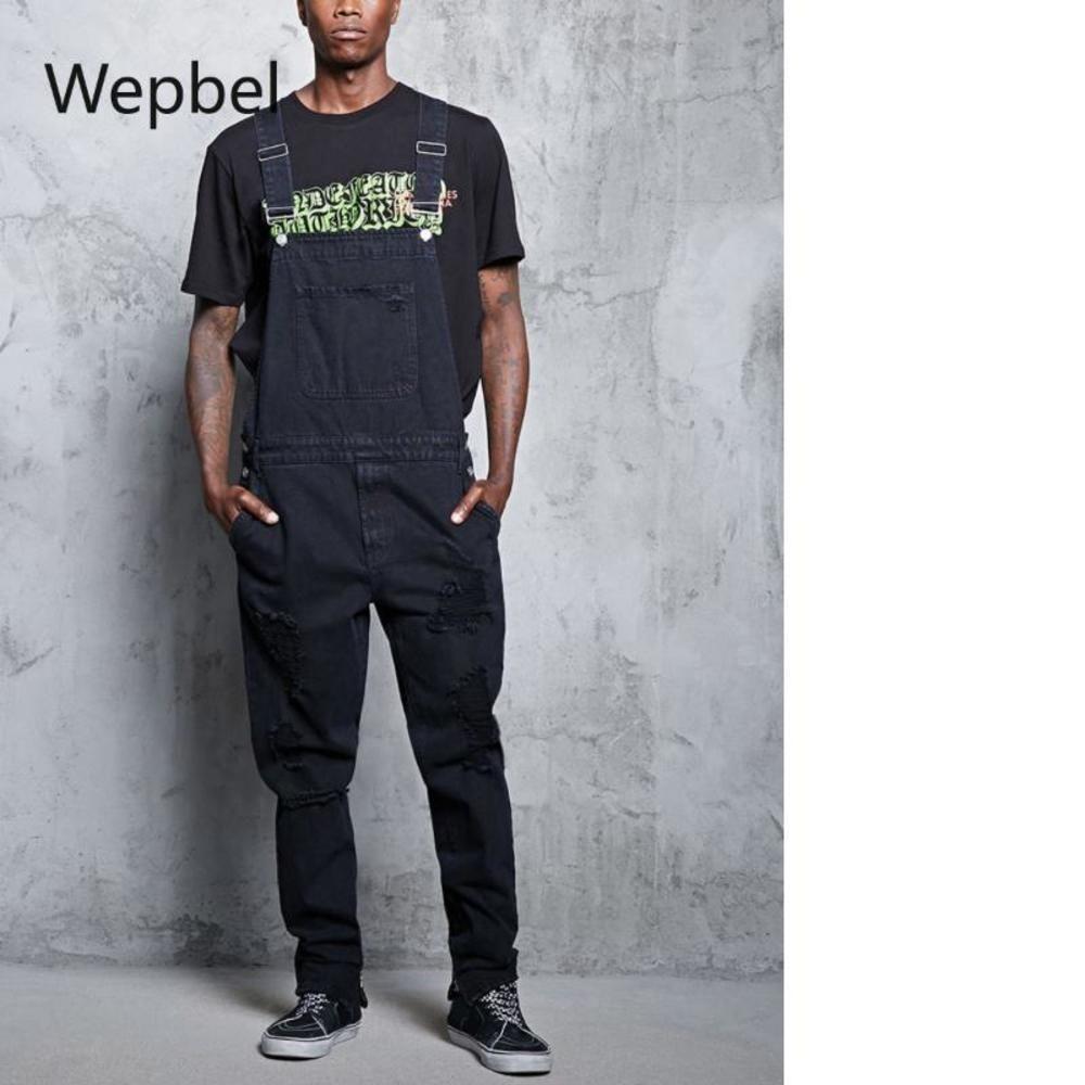 Wepbel déchiré jeans pantalons pantalons populaire de jarretelle de jumelage en denim Jumpsuit denim combinaisons mode plus taille noir de jeans noir