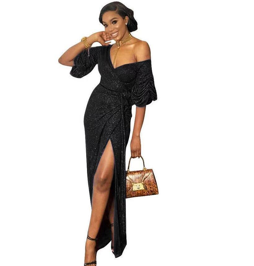 Deep V Evening Dresses Sexy dress Fashion ladies' leisure With short sleeves dresss breathable senior feeling