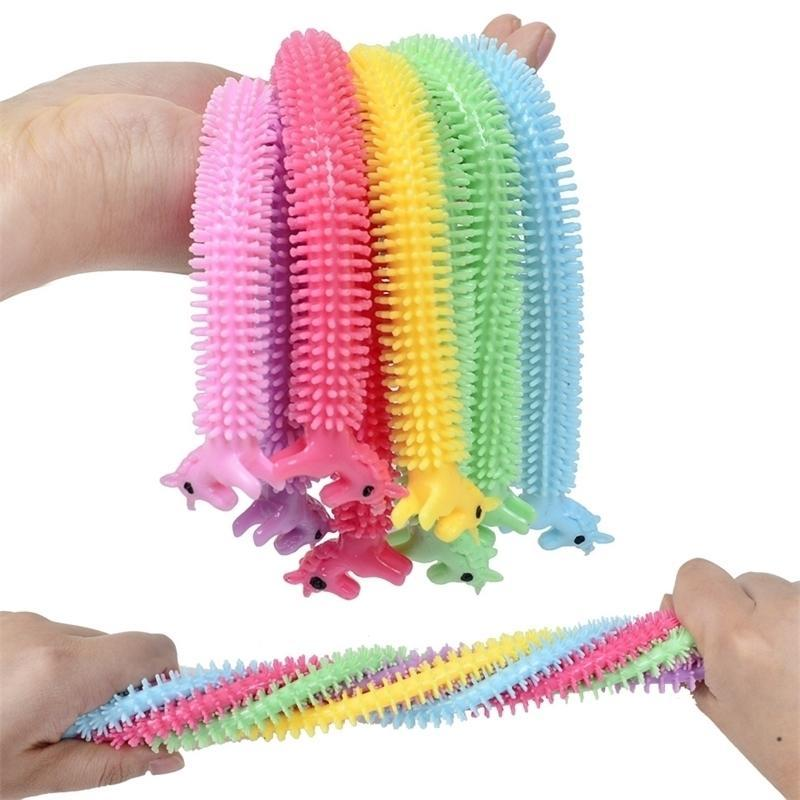 Fidget giocattoli Sensory Toy Noodle Rope TPR Stress Reliever Unicorn Malala Le Decompressione Pull Ropes Ansia Sollievo per bambini divertente H3206