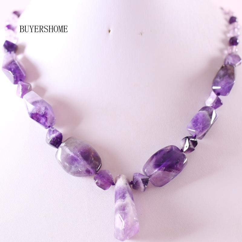 Collier perlé à la main Pierre naturelle Pierre Purple Cristal Quartz pour femmes Bijoux Cadeau Re132 Pendentif Colliers