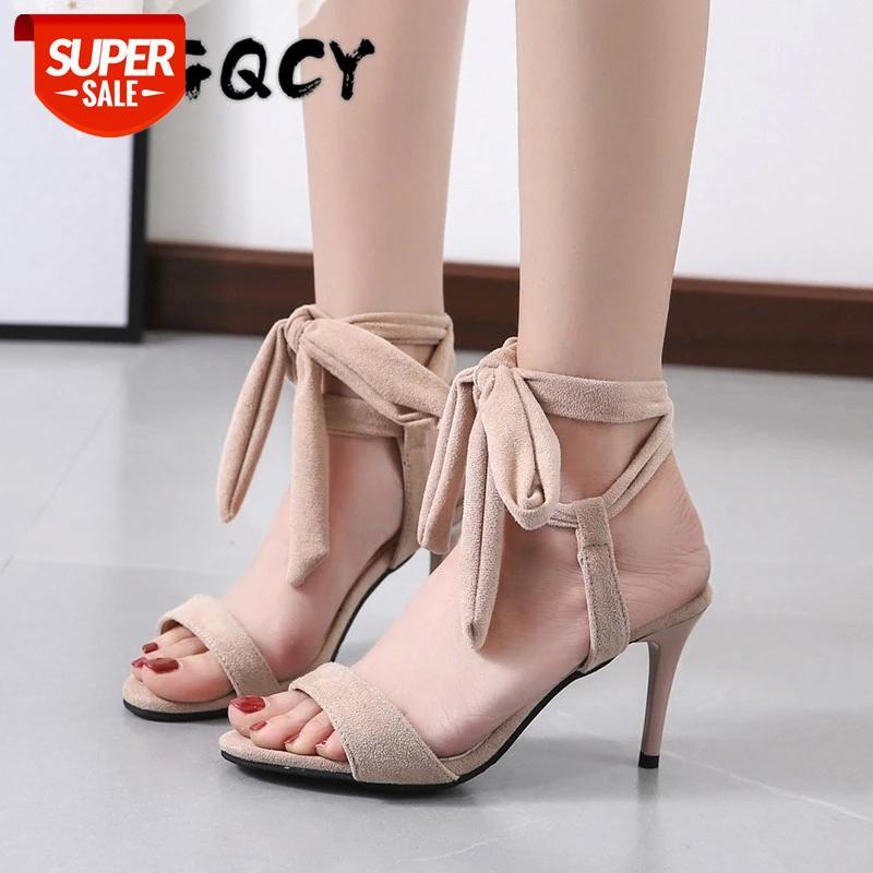 Gladiators High Heels Ankle Strap Thin Sandals Fashion Summer Shoes Elegant Open Toe Riband Party Suede Sandal Women #w31q