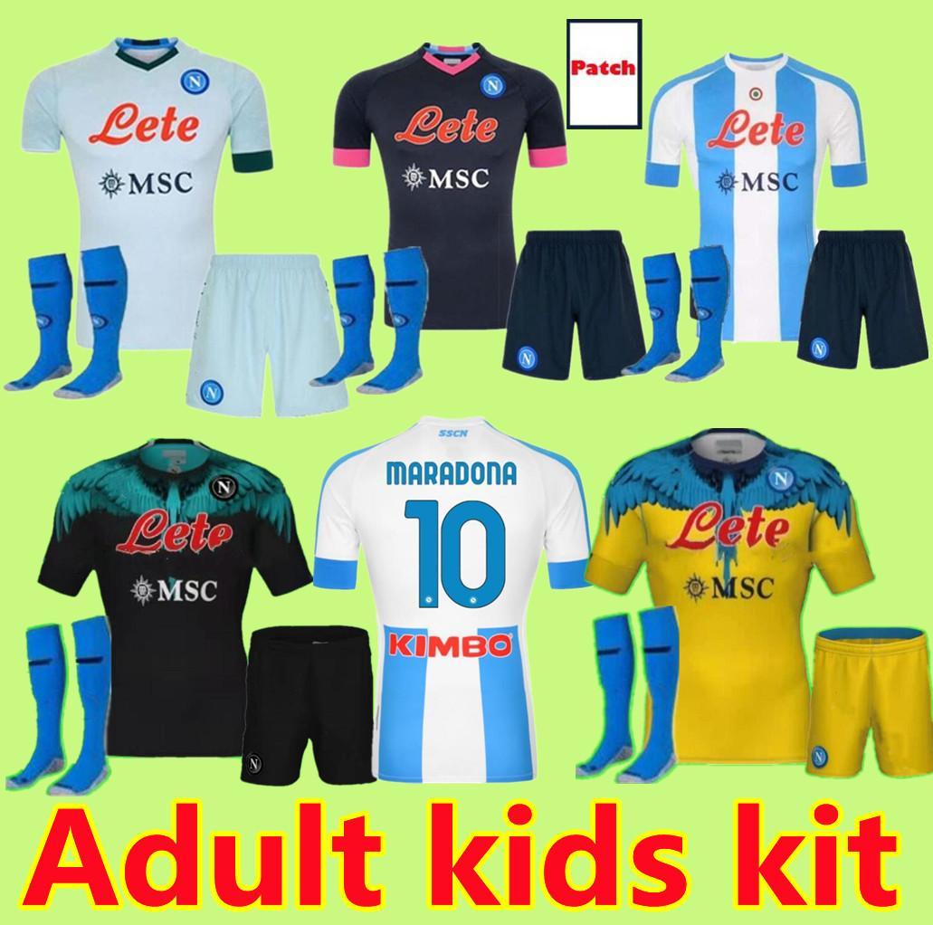 Çocuk Seti Yetişkin 19 20 21 Napoli Futbol Jersey Home 2020 2021 Napoli Zielinski Hamsik Insigne Mertens Callejon Player Rog Futbol Gömlek