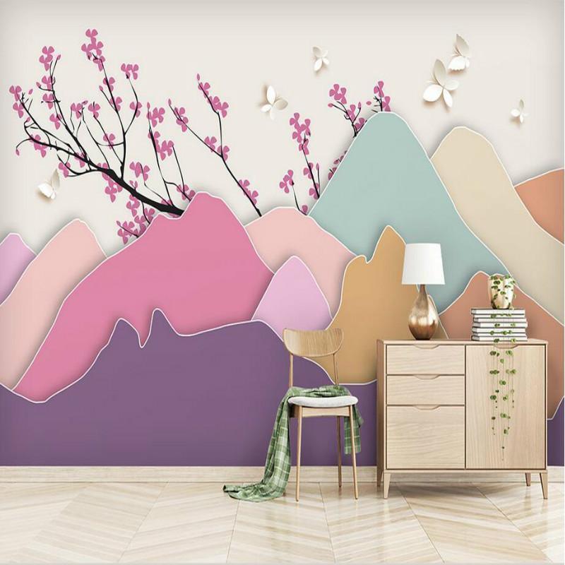 Wallpapers Custom Home Improvement 3d Wall Paper Rolls Wallpaper For Walls Abstract Landscape Mood Plum Butterfly