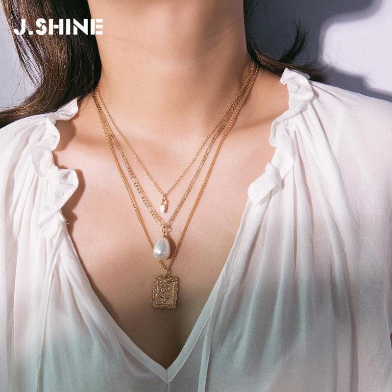 Jshine العصرية متعددة الطبقات المختنق قلادة بيان طوق تقليد اللؤلؤ مربعة روز زهرة قلادة سلسلة القلائد المرأة