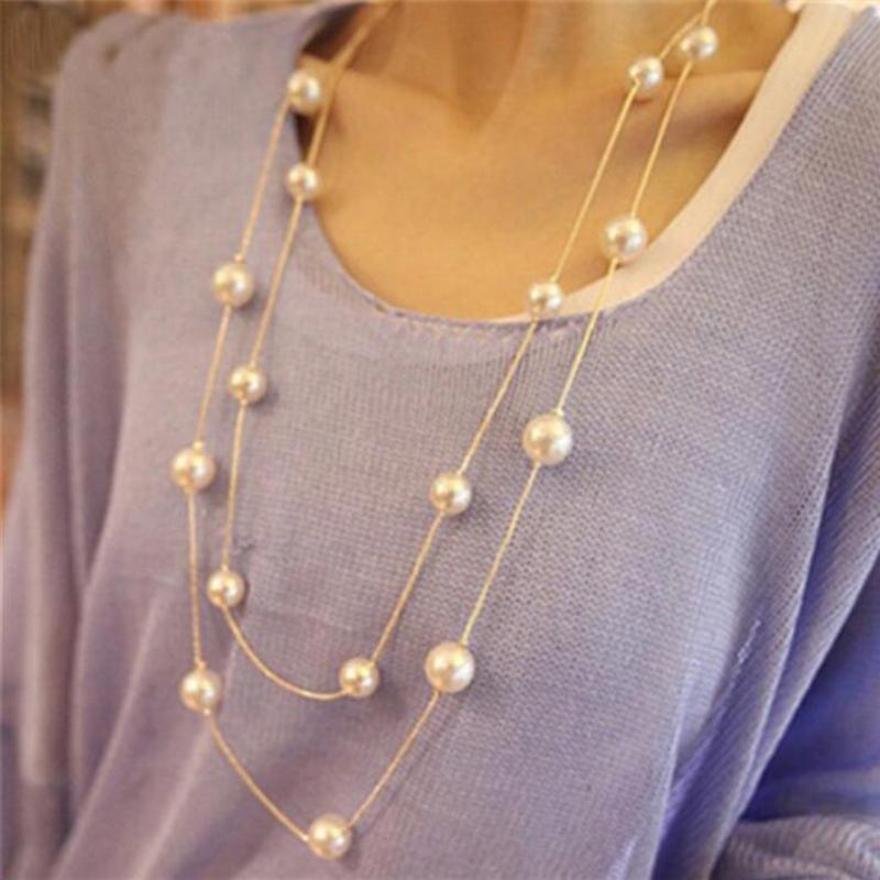 Long Double Layer Simulated Pearl Necklace Women Sweater Chain Female Collares Statement Jewlery Wholesale 2021 Pendant Necklaces